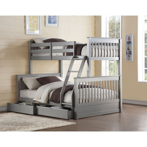 Acme Haley II Gray 37755 Twin over Full Bunk Bed with Drawers