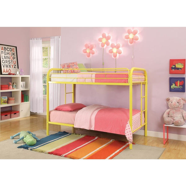 Acme Thomas 02188 Yellow Twin over Twin Bunk Bed - Comfy Kids Bedroom