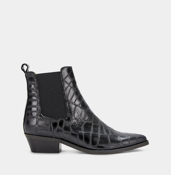 Stella Faux Croco - Black - Ivylee Copenhagen Boots, Shoes, Sandals, Pumps, Clothing
