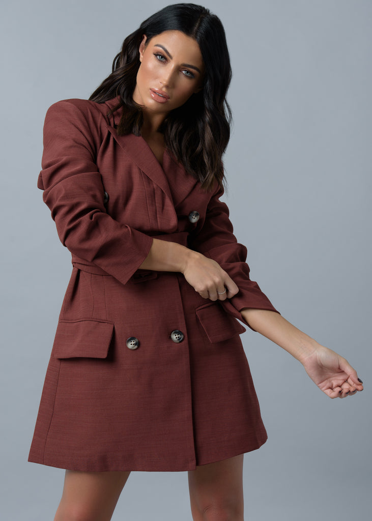 Maroon Ruffle Sleeve Blazer Dress