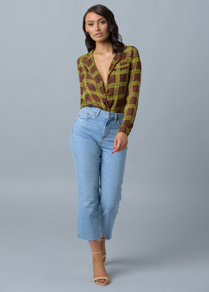 Olive Brown Checked Sheer Pyjama Blouse