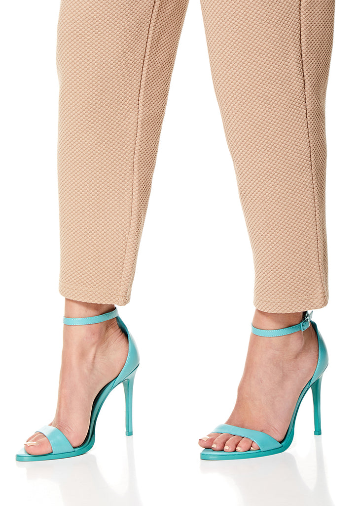 Turquoise Leather High Heel Sandals