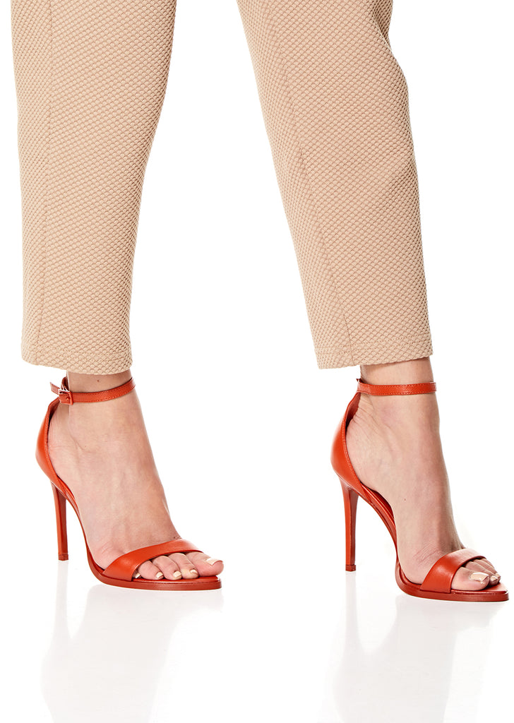 Tangerine Leather High Heel Sandals