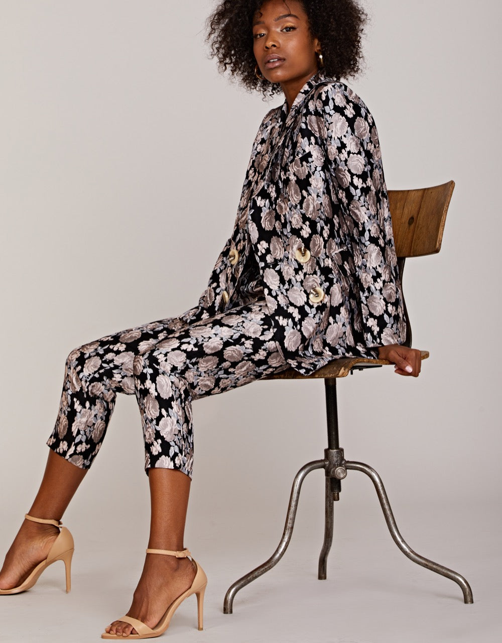 Metallic Floral Blazer and Belted Trousers Set