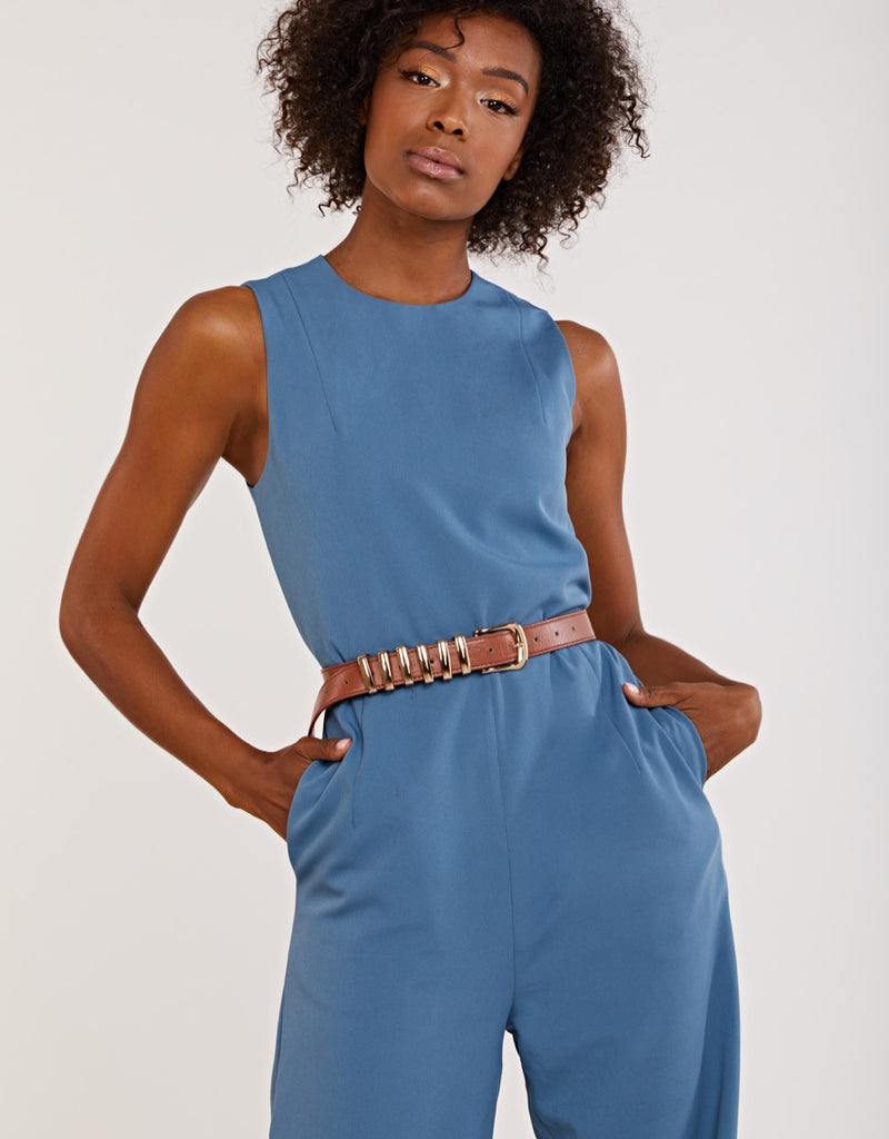 Blue Sleeveless Jumpsuit