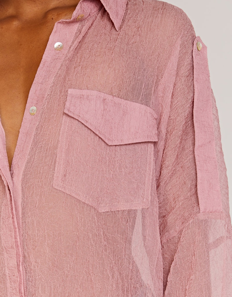 Pink Sheer Long Blouse