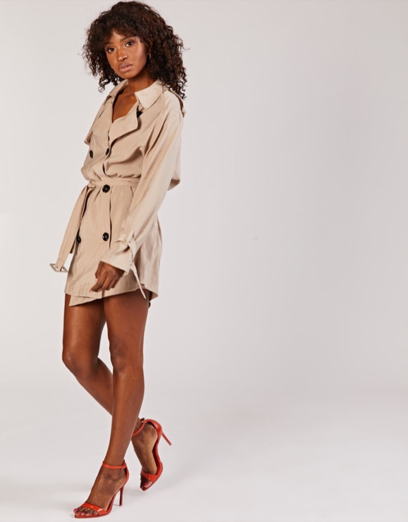 Beige Trench Coat Dress