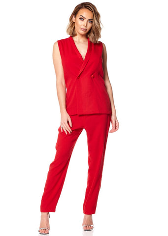 Red Sleeveless Tux Jumpsuit