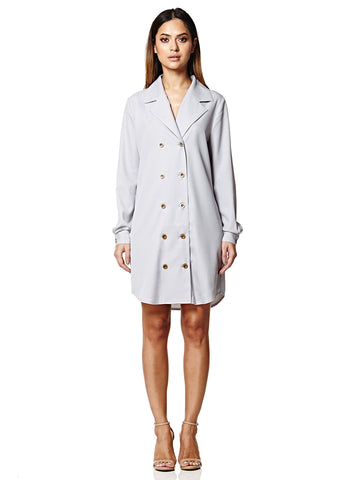 Glacier Grey Double Breasted Shirt Dress