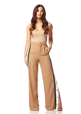 Beige Side Stripe Popper Track Pants