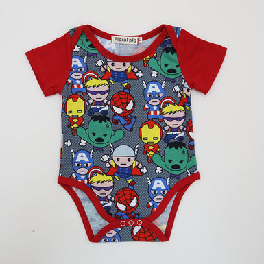 2017 Halloween Baby Bodysuit 100% Cottons Red Short Sleeves Superhero Onesie