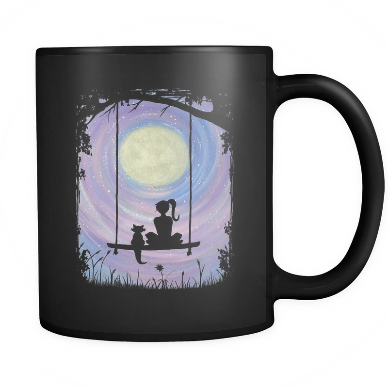 A Girl and her Cat sitting on a swing under the full moon Mug