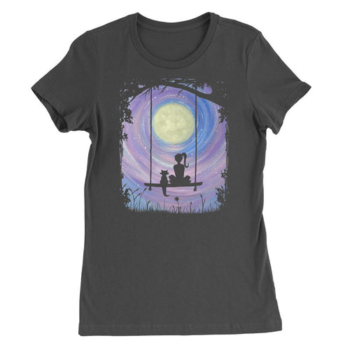 A Girl and her Cat sitting on a swing under the full moon T-Shirt
