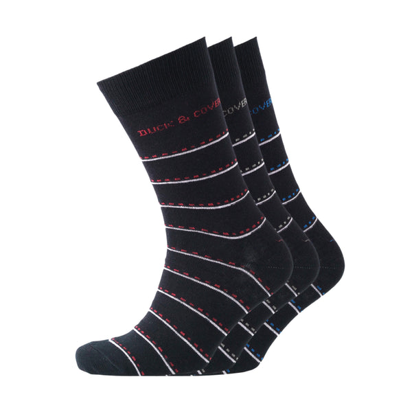 Dunford Socks - Striped Black Assorted 3pk