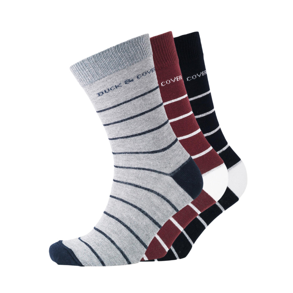 Kalberts Socks - Striped Black Assorted 3pk