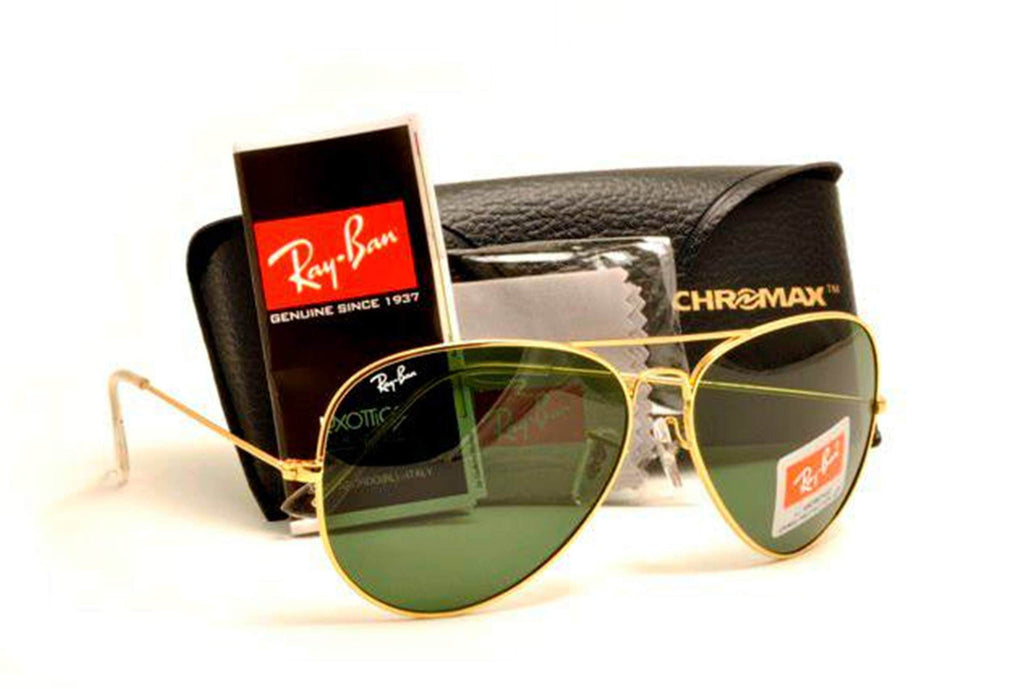 506df7a857bbd Ray Ban Aviator Sunglasses RB3025 Gold Frame Green Lens – SunGlassStore