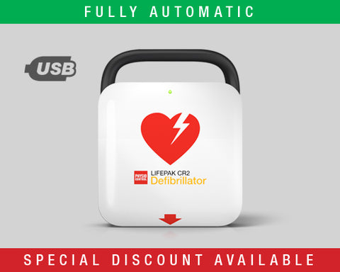 LIFEPAK CR2 USB Defibrillator – Fully Automatic with Handle