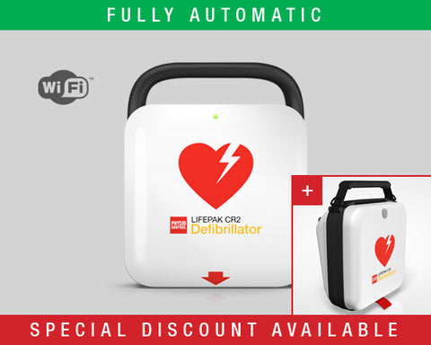 LIFEPAK CR2 Defibrillator with LIFELINKcentral AED Program Manager – Fully Automatic. Includes Carry Case