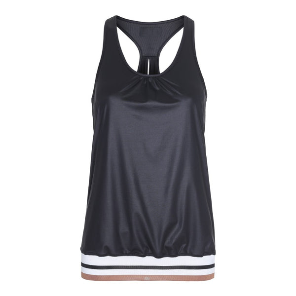 Racer Tank wet look with old school rib details and relaxed fit. This italian breathable high performance fabric allows your body to dry up quick. Perfect for all kinds of workout or just for great sporty wear day or night.