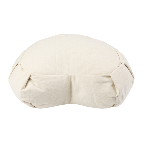 The Crescent Zafu slopes from 19cm at the back to 11.5cm at the front which ensures your pelvis remains above your knees - essential for comfort. The cushion is pleated for extra durability and is filled with natural buckwheat hulls which conform to your body shape perfectly whilst providing a stable platform to sit on.