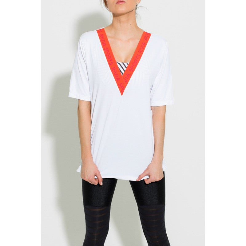 Cool Signature Tee with orange neckband. Perfect used for basic style under work out, cover up or an every day casual look - your choice.