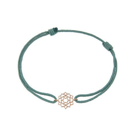 Green silk thread with anahata shakra pentant in 18 carat rose gold