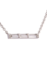14K Diamond Baguette Mini Bar Necklace