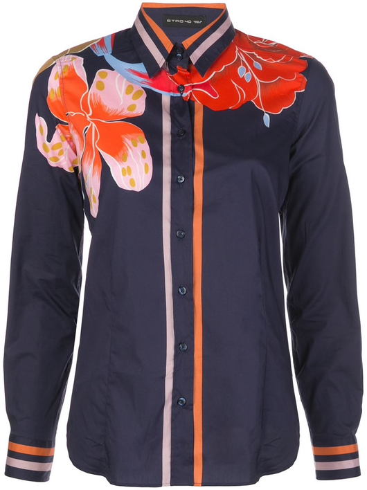 lily print cotton shirt