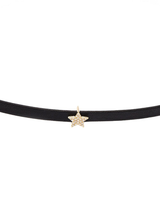 Diamond star leather choker