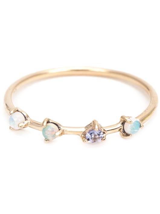 14k four step ring-2mm opals & tanzanite