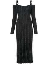 L/S Body Con Maxi Studded Dress