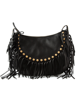 c-rockee fringed textured-leather shoulder bag