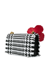 Woven Houndstooth Shoulder Bag w/Flower