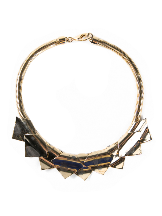 14k splattered acid necklace w/triangles