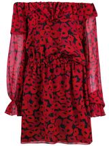 Poppy print off shoulder dress