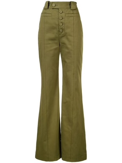 High waisted cotton twill pants