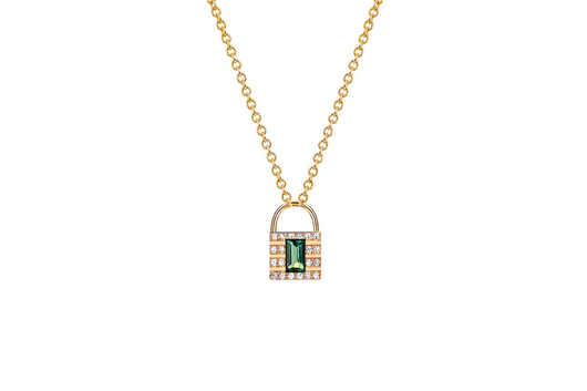 14k diamond emerald lock necklace