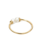 double white pearl 14k ring