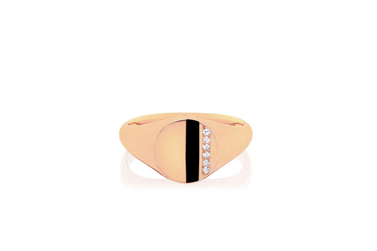 14k diamond enamel stripe signet ring