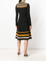 Multi striped l/s a-line dress
