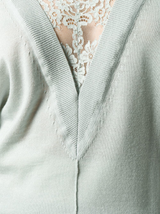 Lace detail v-neck sweater