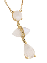 3 Vertical Moonstone Drop Necklace