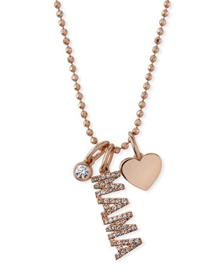 14k diamond mama charm necklace