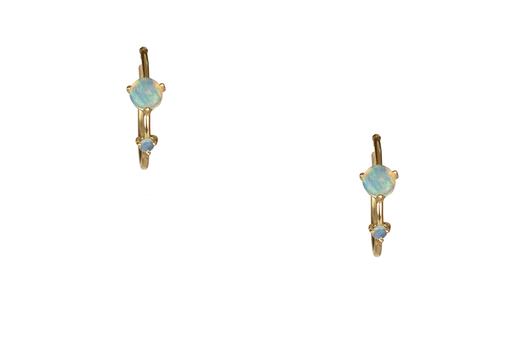 Small Two-Step Hoops-14K W/2Mm & 4Mm Opals