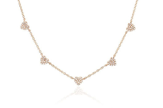 14k 5 mini diamond heart necklace