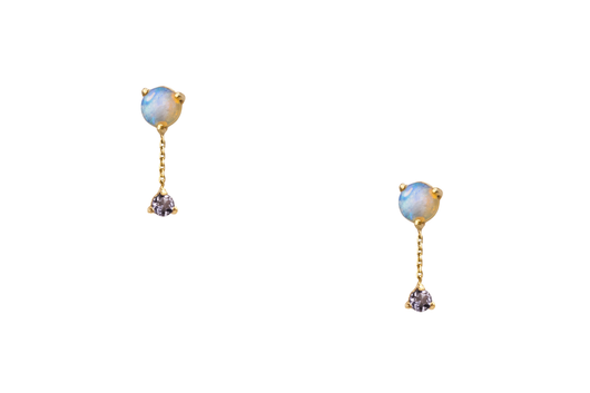 Large Two Step Chain Earrings-Opal And Tanzanite