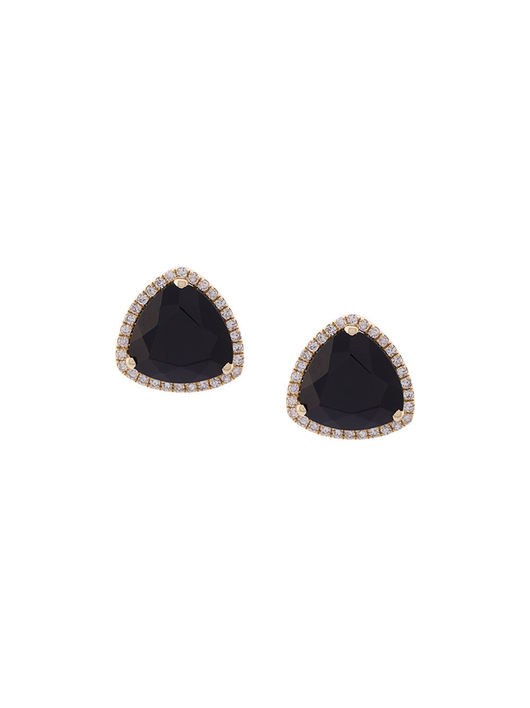 Black Onyx Slice Stud Earrings