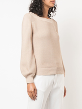 Bell sleeve boat neck knit