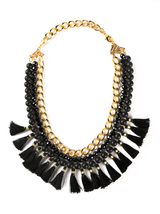 onyx tassel necklace