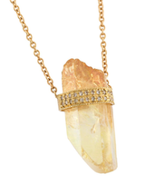 2 Diamond Row Yellow Aura Quartz Crystal Necklace